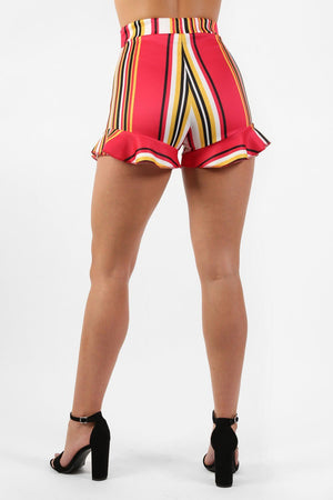 Shorts - High Waist Multi Stripe Frill Hem Fitted Shorts In Red