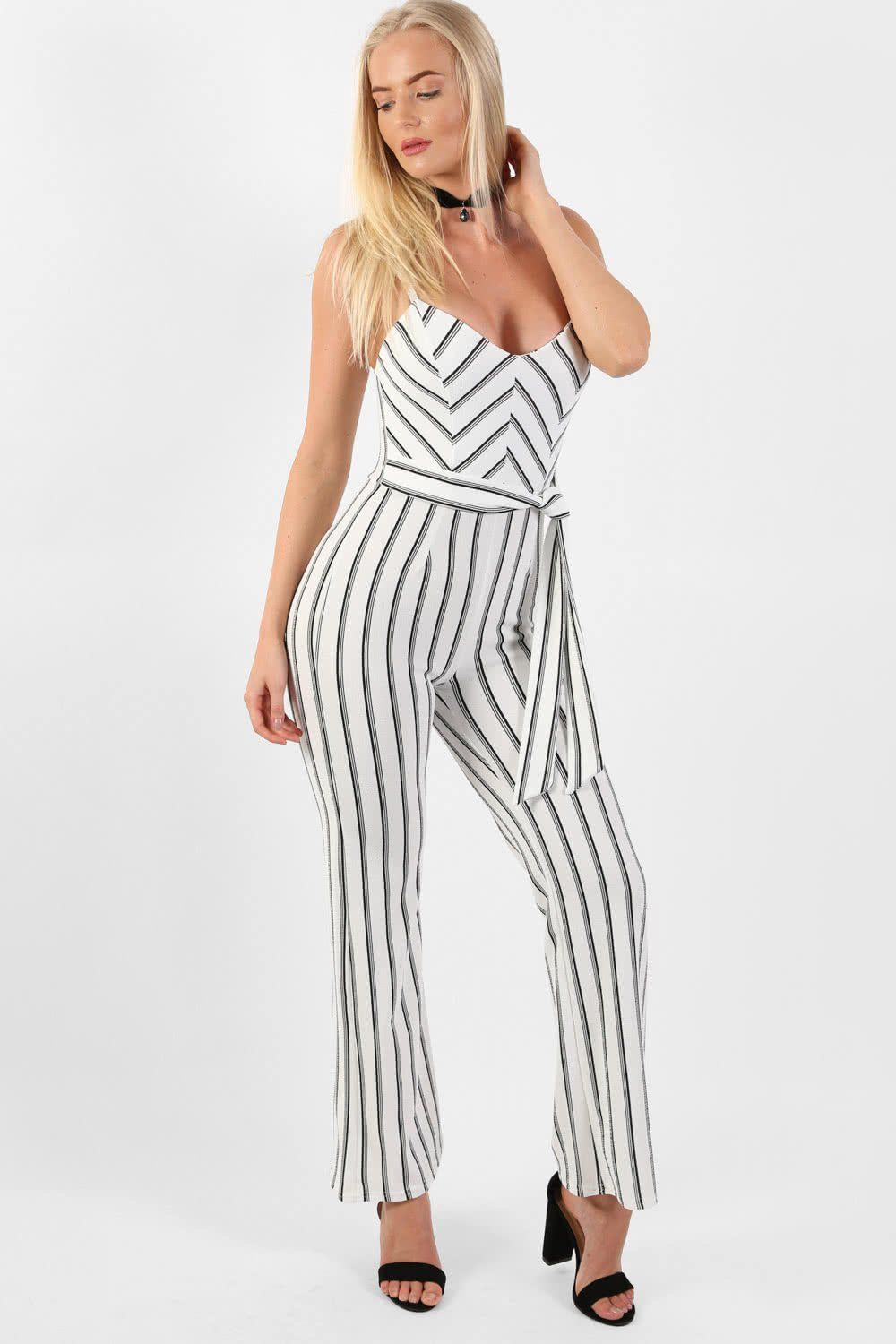 Shorts - Monochrome Stripe Belted Jumpsuit In Cream