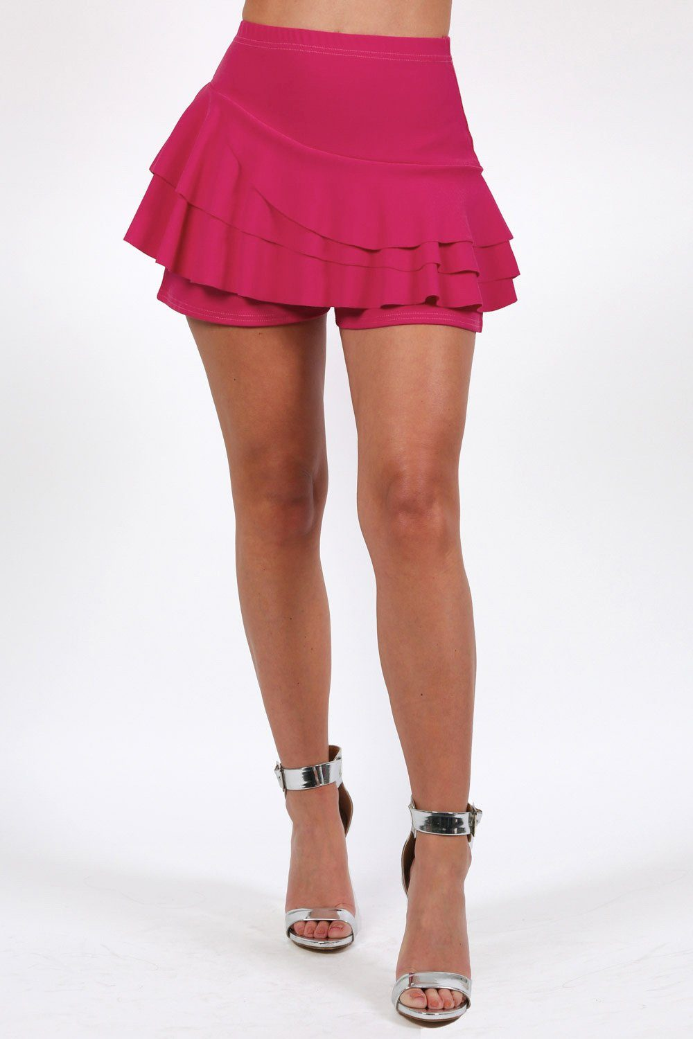 Shorts - Multi Layer Plain Frill Skort In Magenta Pink