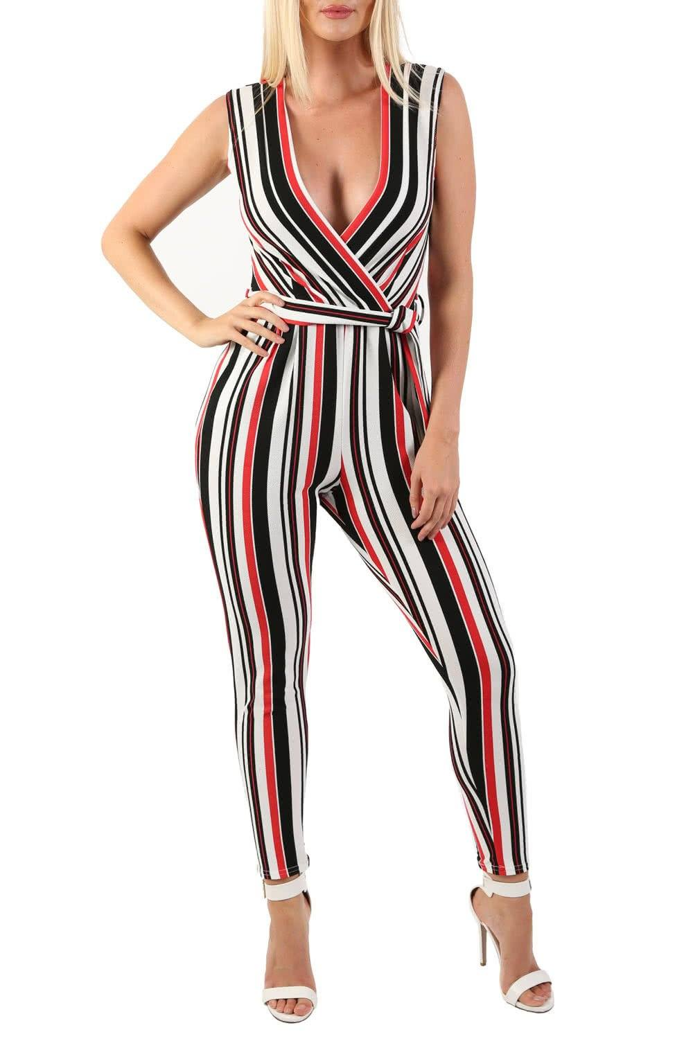 Shorts - Stripe Wrap Front Jumpsuit In White
