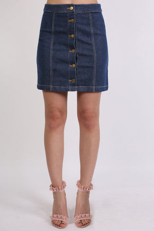 Skirts - Button Front Mini Skirt In Denim