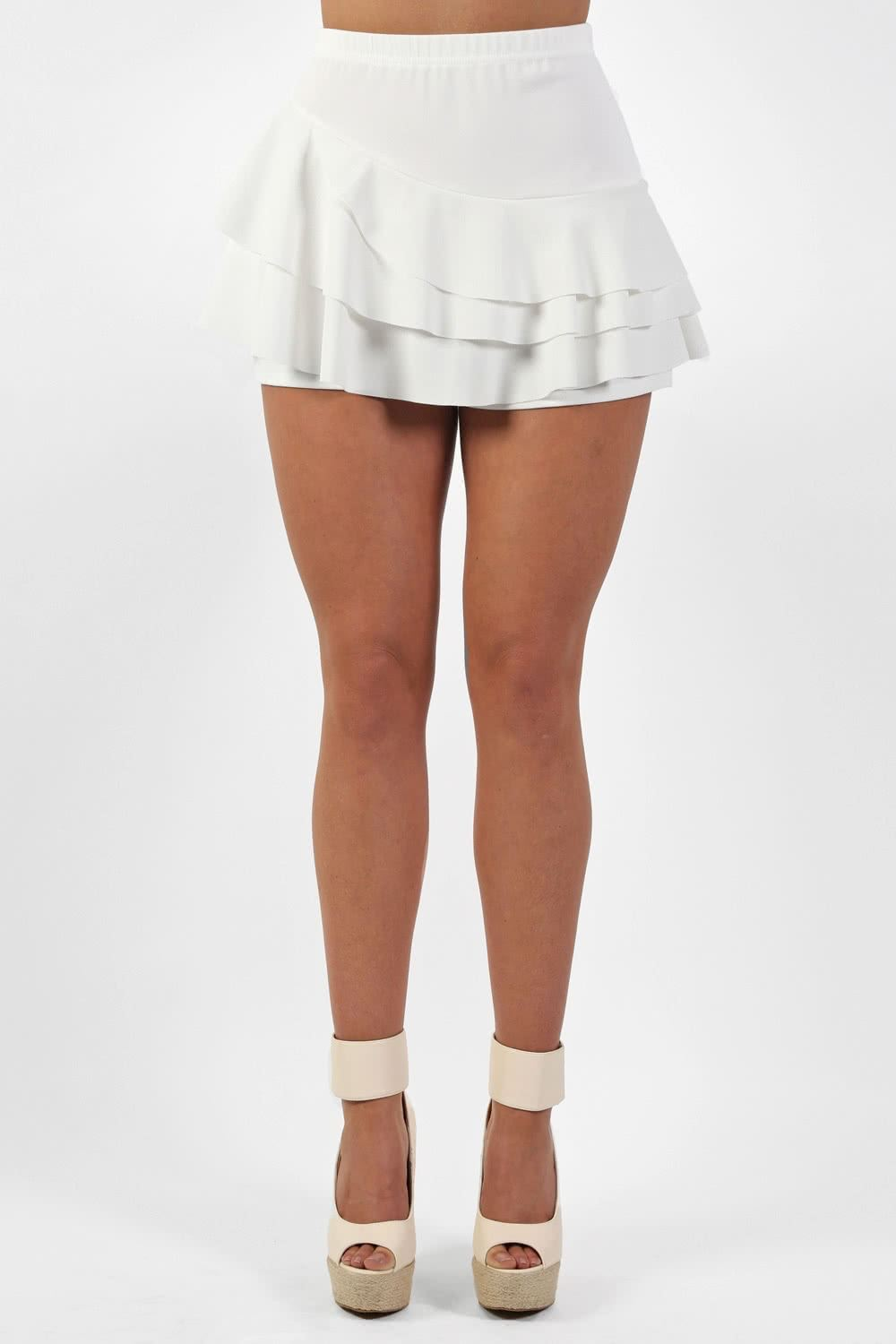 Skirts - Multi Layer Plain Frill Skort In Cream