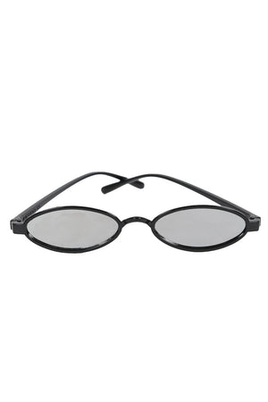 Sunglasses - Black Small Oval Retro Sunglasses In Black