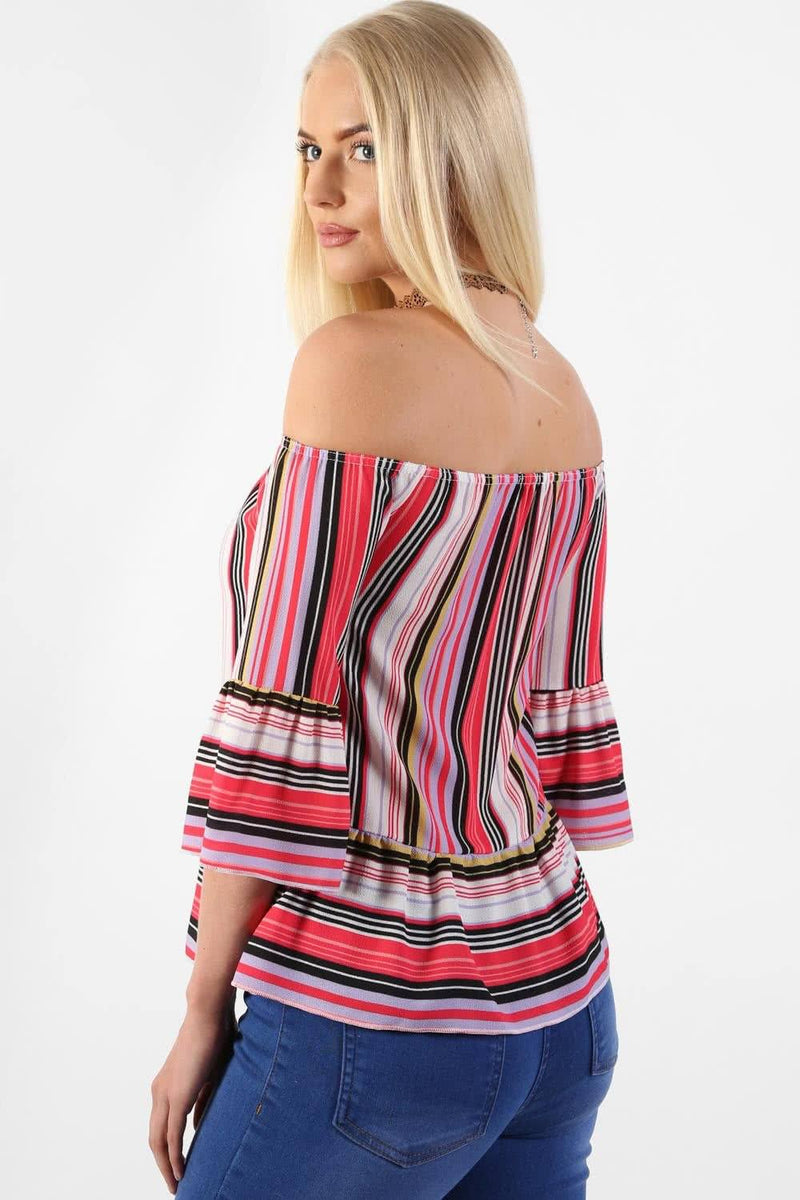 Tops - Candy Stripe Bardot Peplum Hem And Sleeve Top In Red