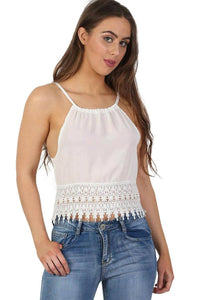 Tops - Crochet Trim Strappy Crop Cami Top In White
