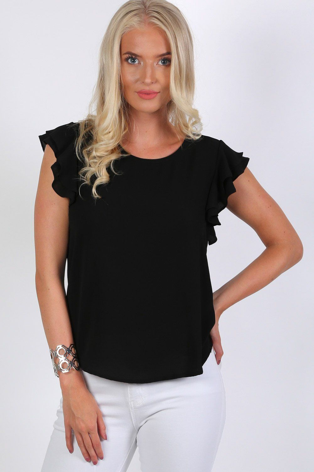 Tops - Double Frill Cap Sleeve Blouse In Black