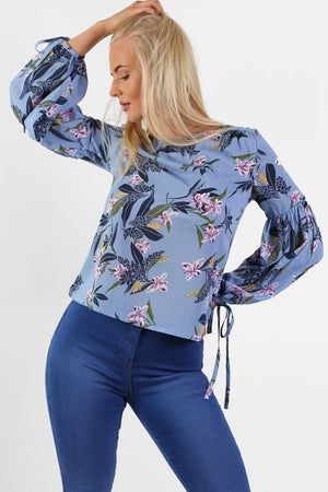 Tops - Floral Print Balloon Sleeve Top In Blue