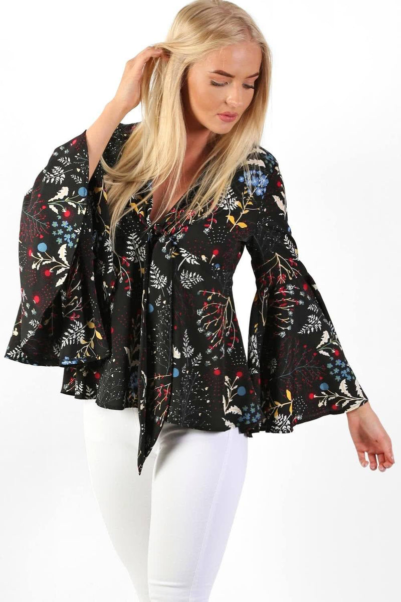 Tops - Floral Print Bell Sleeve Tie Detail Smock Top In Black