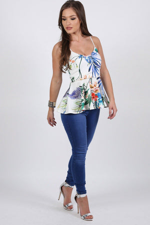 Tops - Floral Print Strappy Peplum Top In White