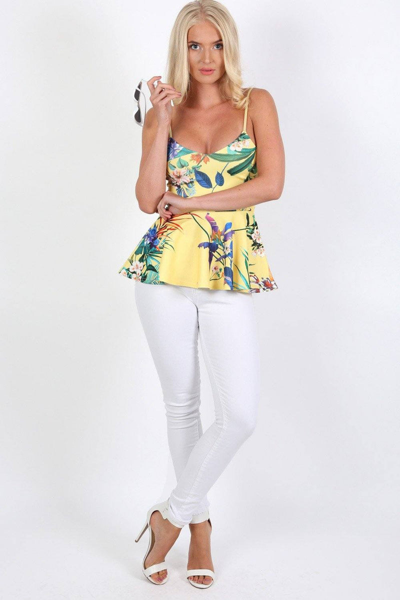 Tops - Floral Print Strappy Peplum Top In Yellow