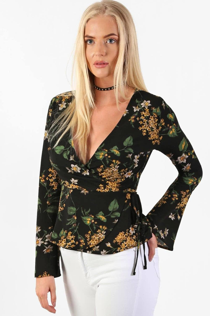 Tops - Fluted Flower Print Wrap Front Peplum Frill Top In Black