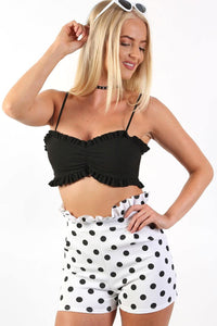 Tops - Frill Edge Plain Strappy Bralet Top In Black
