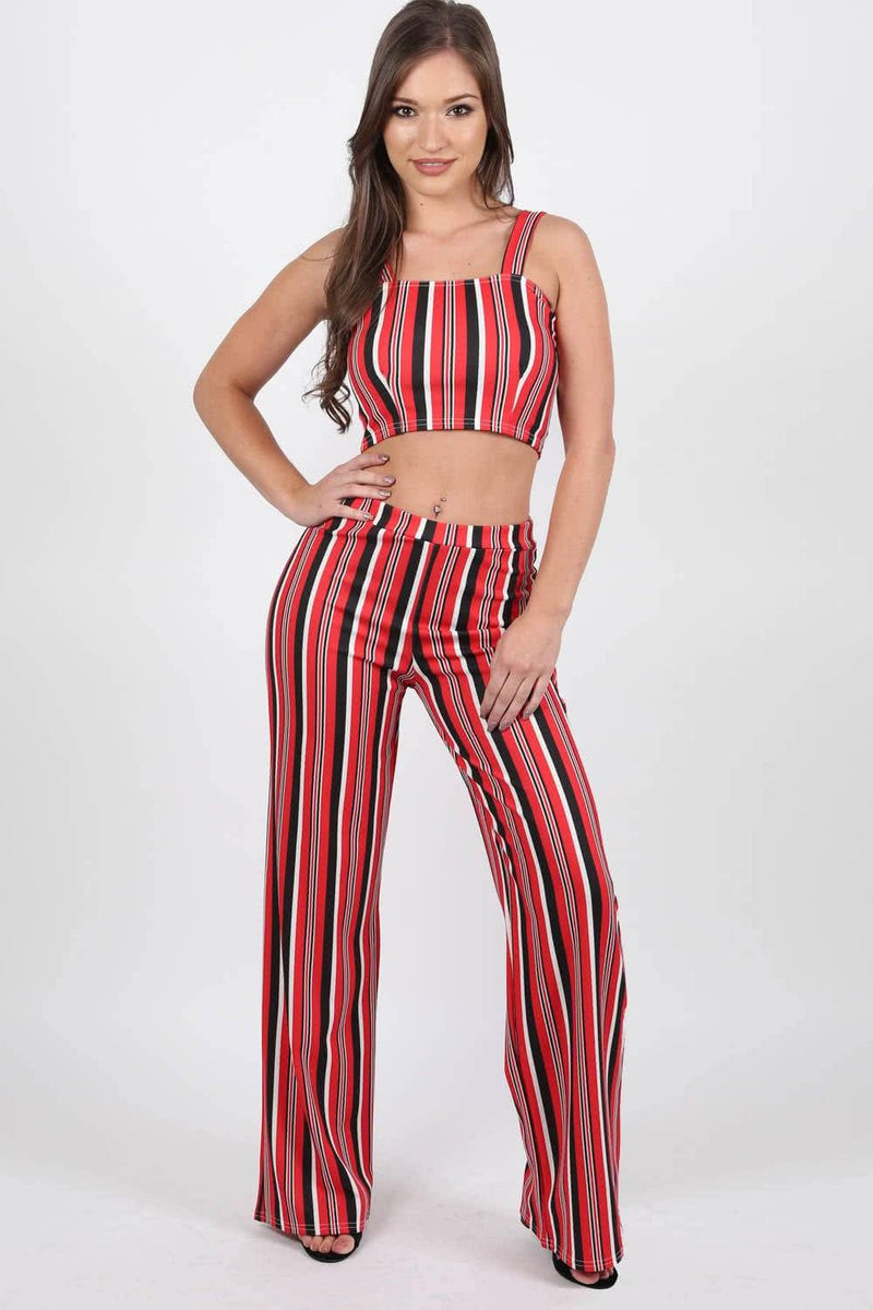 Tops - Multi Stripe Strappy Crop Top In Red