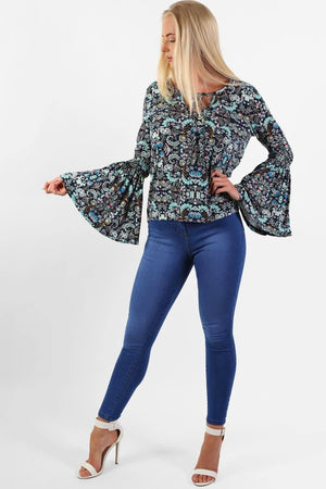 Tops - Oriental Floral Print Bell Sleeve Tie Detail Top In Navy Blue