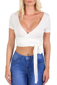 Tops - Plain Cap Sleeve Tie Wrap Crop Top In Cream