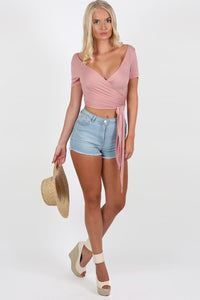 Tops - Plain Cap Sleeve Tie Wrap Crop Top In Dusty Pink