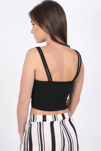 Tops - Plunge Front Double Layer Bralet Top In Black