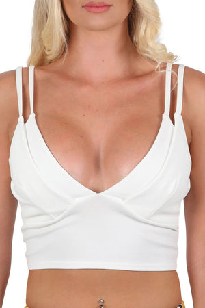 Tops - Plunge Front Double Layer Bralet Top In Cream