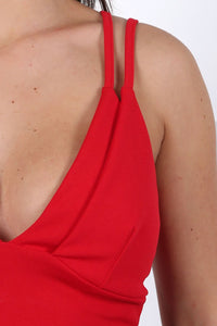 Tops - Plunge Front Double Layer Bralet Top In Red