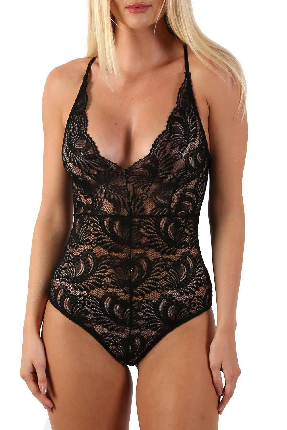 Tops - Sheer Lace Cross Back Bodysuit In Black