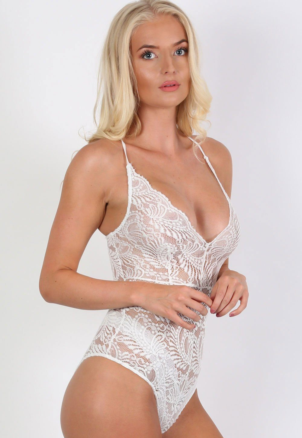 Tops - Sheer Lace Cross Back Bodysuit In Cream