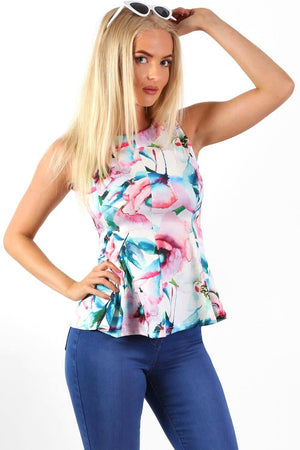 Tops - Sleeveless Floral Print Peplum Frill Top In White