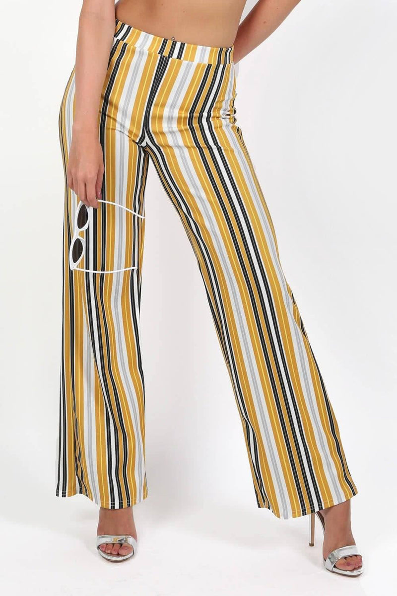 Trousers - Multi Stripe High Waist Wide Leg Trousers In Mustard Yellow