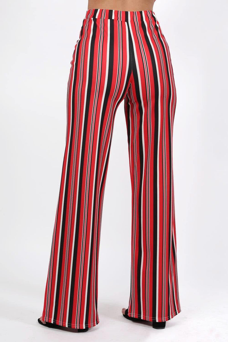 Trousers - Multi Stripe High Waist Wide Leg Trousers In Red