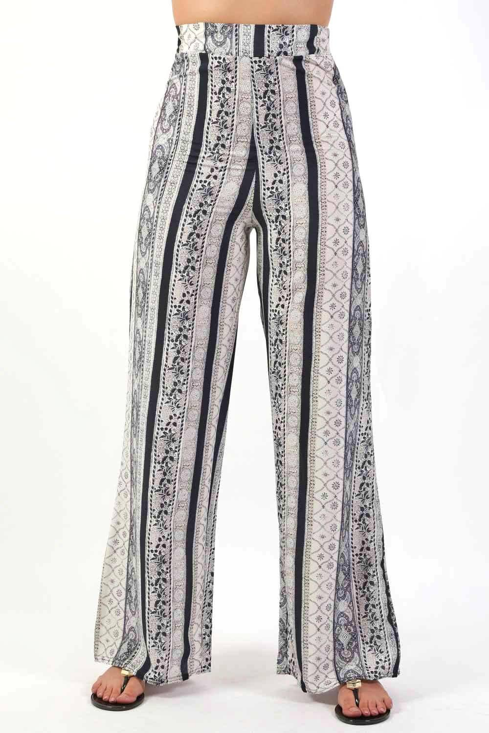 Trousers - Paisley Print Palazzo Trousers In Black