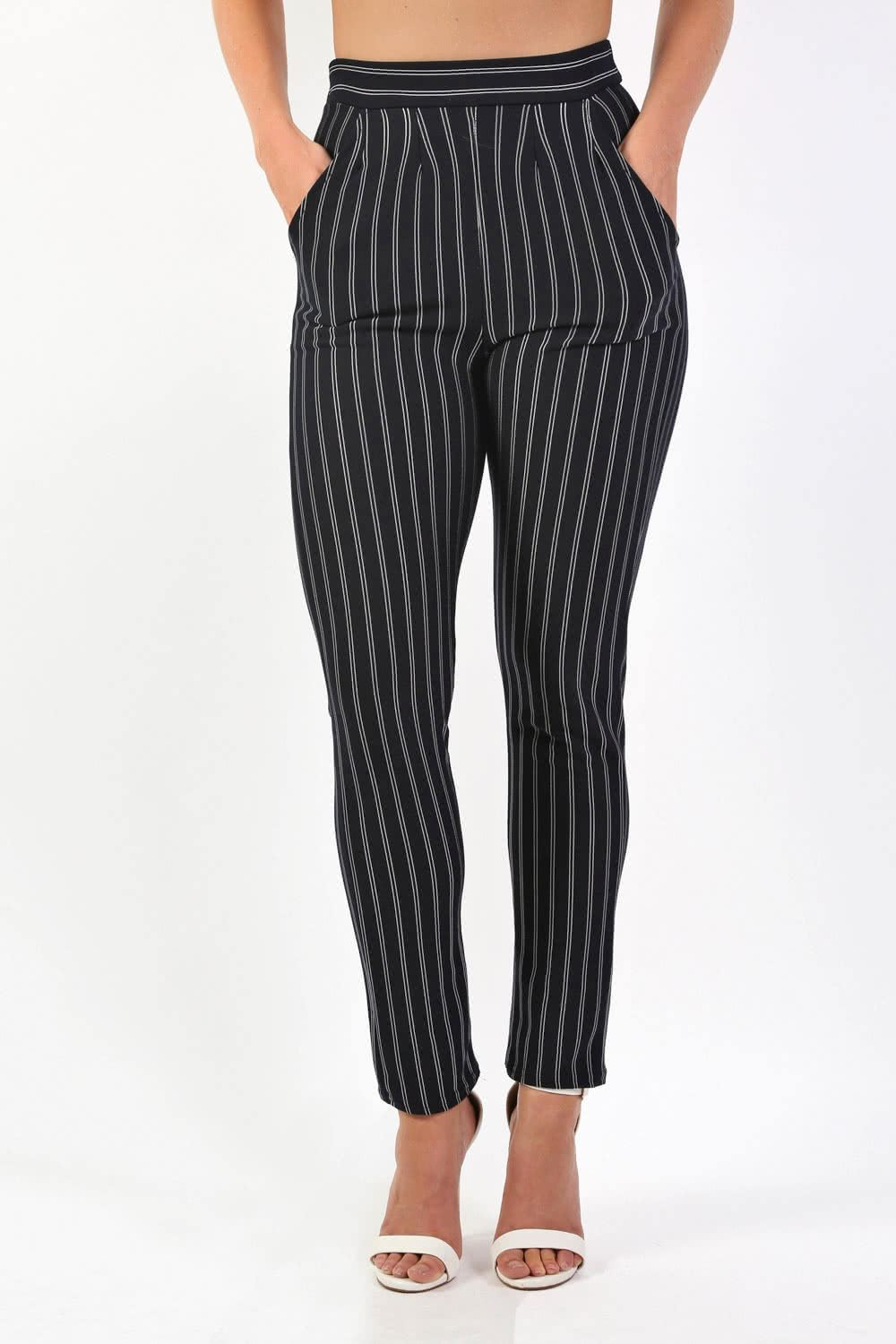 Trousers - Pinstripe Slim Leg Pocket Detail Trousers In Navy Blue