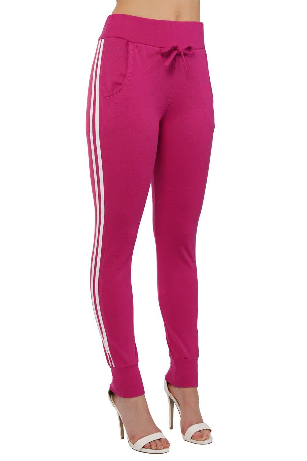 Trousers - Side Stripe Detail Jogger Loungewear Bottoms In Magenta Pink