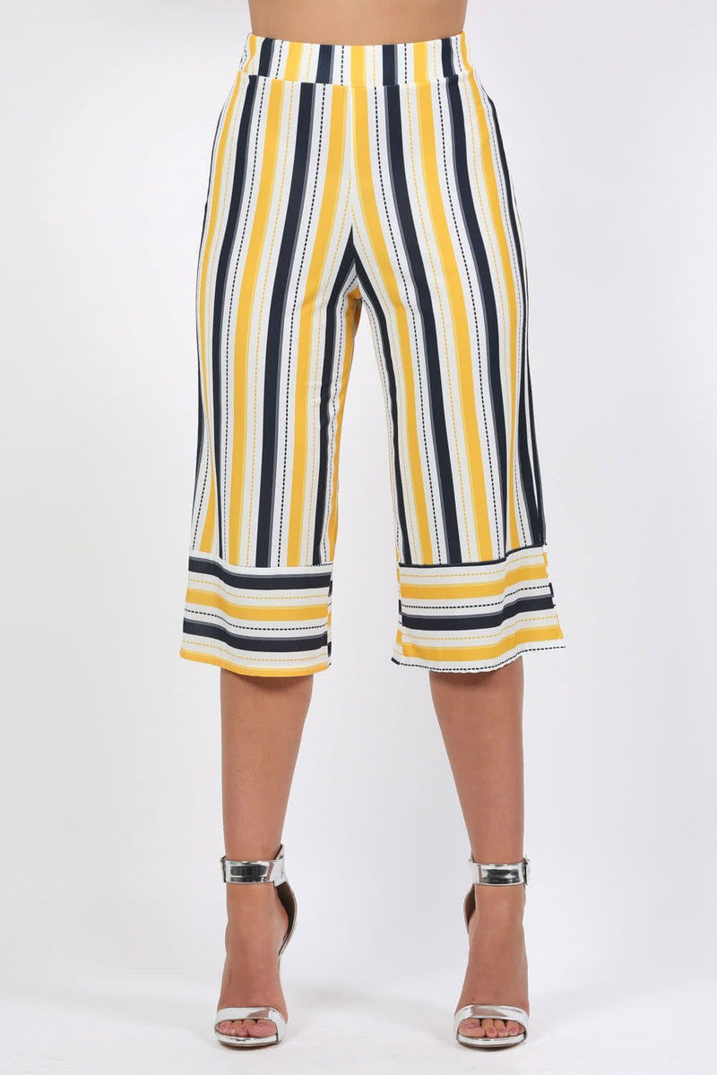 Trousers - Stripe Culotte Trousers In Mustard Yellow