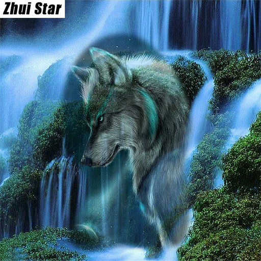 "Full Square Diamond 5D DIY Diamond Painting ""Waterfall Scenic Wolf "" Embroidery, Cross Stitch Rhinestone Mosaic Painting Gift VIP"