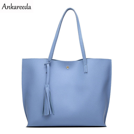 Ankareeda Luxury Brand Women Shoulder Bag, Soft Leather Top-Handle Bags w/ Tassel, Casual Tote, 2 Straps