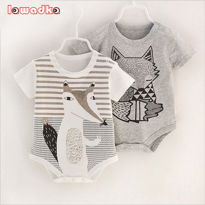 100% Cotton Short Sleeve Baby Rompers Printed Toddler Jumpsuits for Boys & Girls