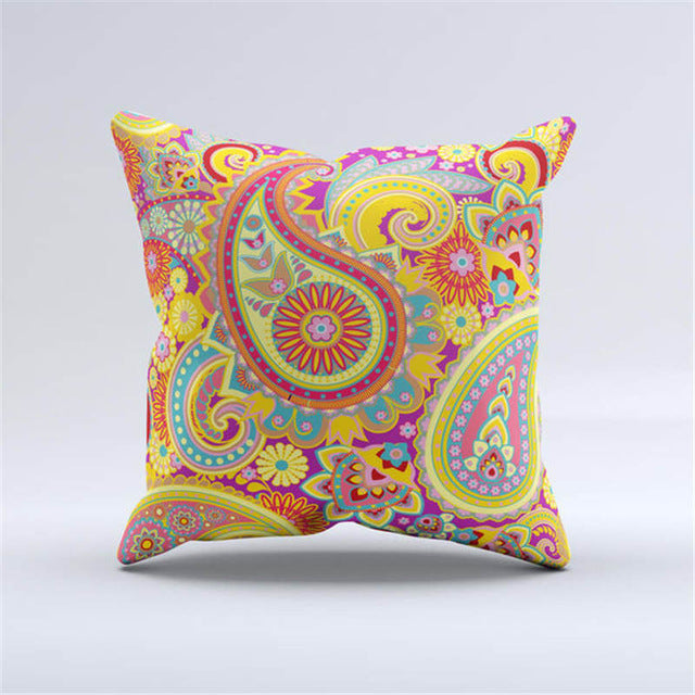 Woven Linen Geometric Cushion Cover Sofa Car Home Decorative Throw Pillow Bohemia Paisley Style SIZE 45*45 Cojines