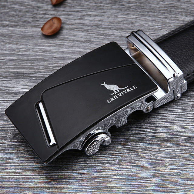 [SAN VITALE] Famous Men's Belts, 100% Good Quality Cowskin Genuine Luxury Leather w/ Metal Automatic Buckle