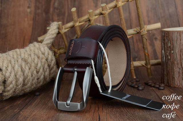 COWATHER Vintage Style Pin Buckle Men's Belt, Cow Genuine Leather Belts for Men (100-130cm)