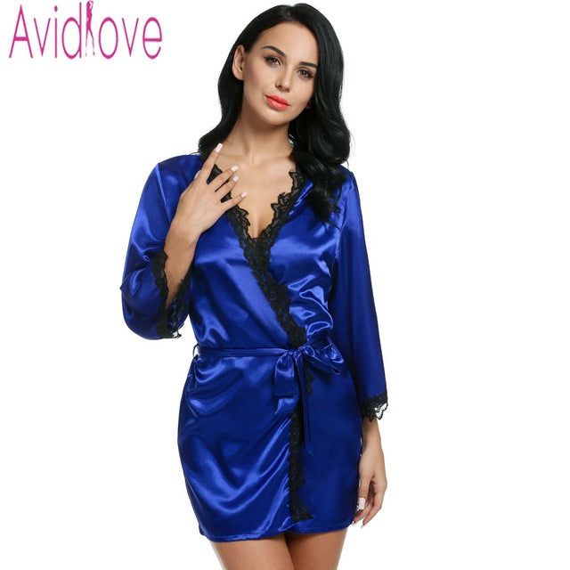 Avidlove Women's Sexy Robes Nightwear w/ Lace-trimmed Satin Casual Loose - Plus Size