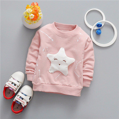 Baby Girls Boys T-shirt Long Sleeve w/ Star Pattern