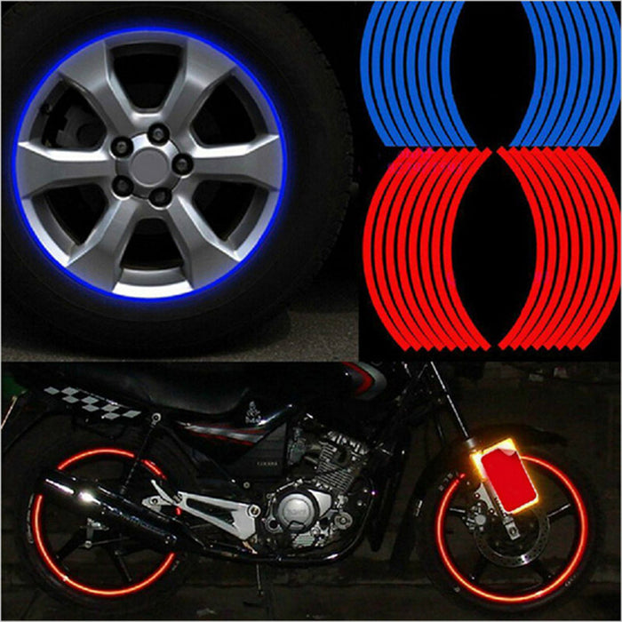 "6 Pcs Strips Wheel Stickers And Decals 14"" 17"" 18"" Reflective Rim Tape Bike Motorcycle Car Tape 5 Colors Car Styling"