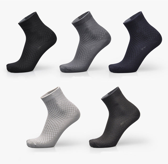 Men's Bamboo Fiber Socks, Brand New for Casual Business, Anti-Bacterial, Breathable, Long Sock - 5pairs / lot
