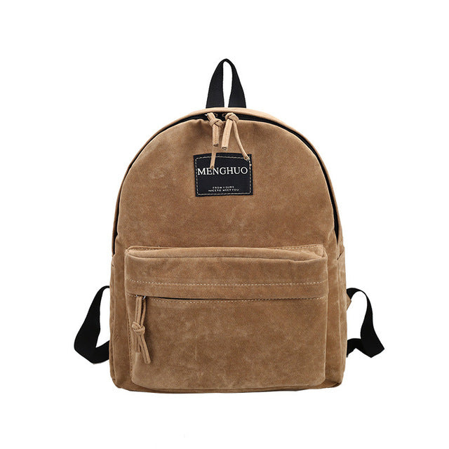 Women's Backpack Preppy Suede Backpacks, Girl's School Bags, Vintage Backpack, No Smell (L29*W12*H35cm)
