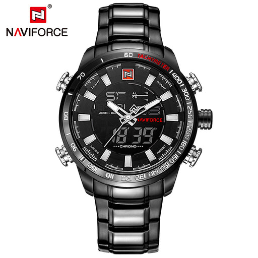 NAVIFORCE Luxury Brand Men's Military Sport Watches, Digital Quartz, Full Steel, Waterproof Wrist Watch