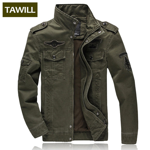 [TAWILL] Men's Jacket Military, Casual Style , Plus Size M-6XL (Army Green, Khaki, Black)