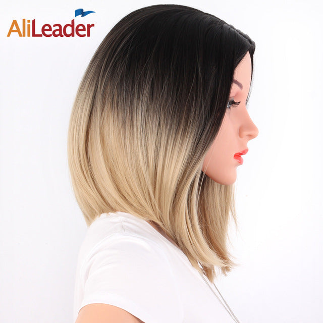 AliLeader African American Bob Wigs, Short Shoulder Length, Blonde Green 8 Colors, Straight Synthetic Wigs For Black Women
