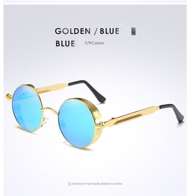 [EyeCrafters} Gold Metal Polarized Sunglasses Gothic Steampunk Sunglasses for Men & Women