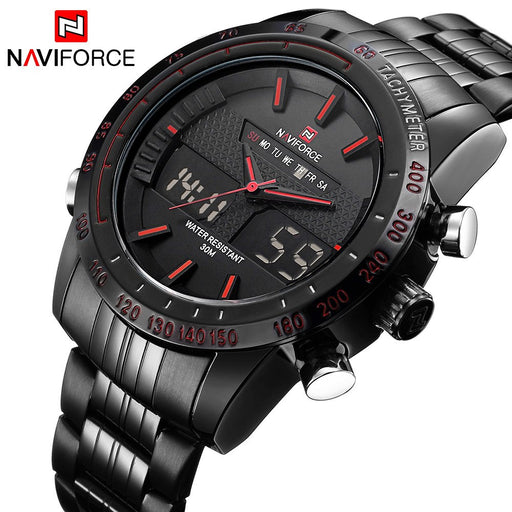 Luxury Brand NAVIFORCE Men's Fashion Sport Watches, Quartz Digital Analog Clock Man Full Steel Wrist Watch