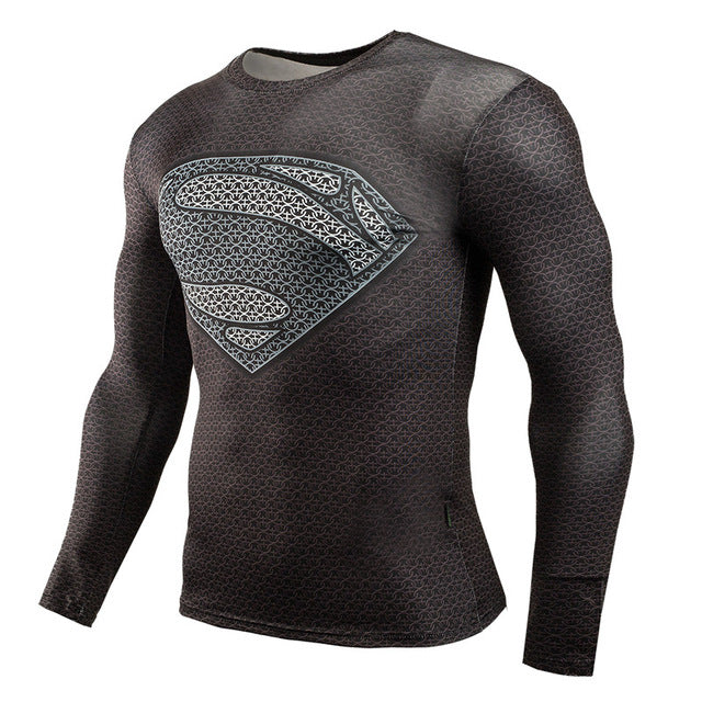 Fitness MMA Compression Shirt Men Anime Bodybuilding Long Sleeve Crossfit 3D Superman Punisher T Shirt Tops Tees