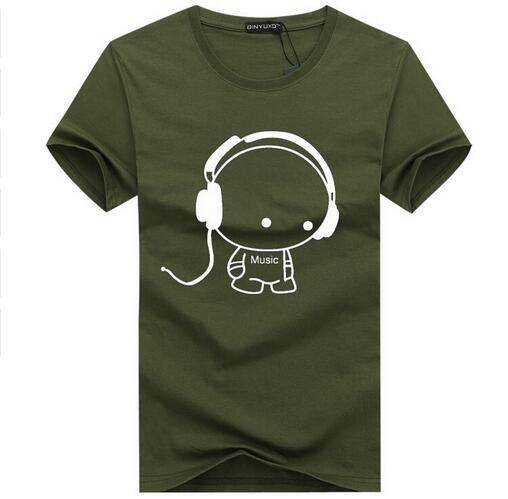Fashion T-Shirt  w/ Headset Cartoon Printed made in Cotton Plus Size 5XL